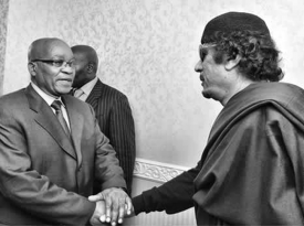 South African President Jacob Zuma meets with Mouammar Gaddafi on May 30, 2011 as part of an African Union effort to find a peaceful solution to the conflict.