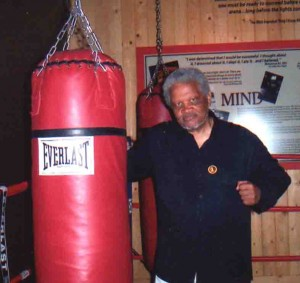 Ishmael Reed and Ali's punching bag (photo: Tennessee Reed)